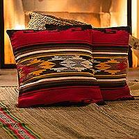 Alpaca blend cushion covers, 'Red Sea' (pair) - Geometric Alpaca Wool Patterned Cushion Cover (Pair)