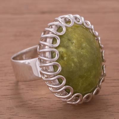 Serpentine cocktail ring, 'Undulate' - Handcrafted Serpentine and Sterling Silver Cocktail Ring
