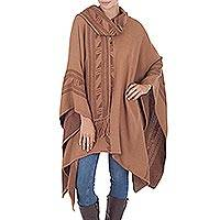 Alpaca blend reversible poncho, 'Heritage' - Hand Crafted Women's Alpaca Wool Patterned Poncho