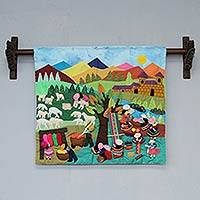 Applique wall hanging, 'Working with Wool' - Cultural Cotton Wall Hanging from Peru