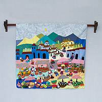Applique wall hanging, 'Highland Market' - Handmade Folk Art Applique Patchwork Wall Hanging