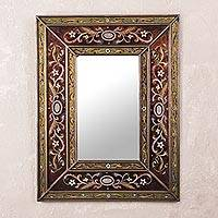 Mirror, 'Cajamarca Warmth' - Rectangular Glass Wall Mirror Reverse Painted from Peru