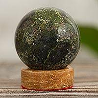 Serpentine sphere, 'Living Planet' - Handcrafted Serpentine Sphere Gemstone Sculpture
