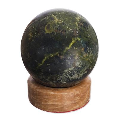 Serpentine sphere, 'Living Planet' - Handcrafted Serpentine Sphere Gemstone Sculpture
