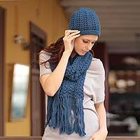 100% alpaca scarf and hat, 'Periwinkle Blue'