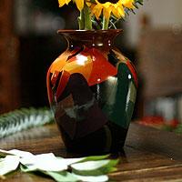 Ceramic vase, 'Andean Girl'