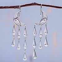 Silver waterfall earrings, 'Temptations'