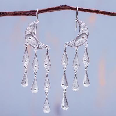 Silver waterfall earrings, 'Temptations' - Artisan Crafted Moon Fine Silver Chandelier Earrings