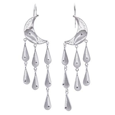 Silver waterfall earrings, 'Temptations' - Artisan Crafted Moon Fine Silver Chandelier Earrings