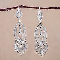 Silver chandelier earrings, 'White Autumn'