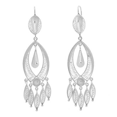 Silver chandelier earrings, 'White Autumn' - Fine Silver Chandelier Earrings