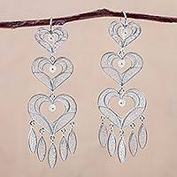 Silver filigree earrings, 'Heart Shower' - Handcrafted Heart Shaped Fine Silver Filigree Earrings