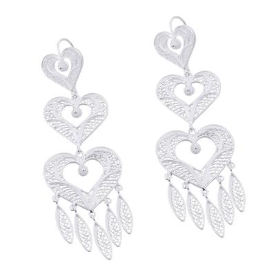 Silver filigree earrings, 'Heart Shower' - Handcrafted Heart Shaped Fine Silver Filigree Earrings