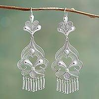 Silver chandelier earrings, 'Path of Flowers' - Artisan Crafted Fine Silver Filigree Earrings