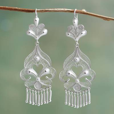 Silver chandelier earrings, Path of Flowers
