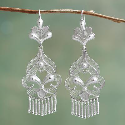 Silver chandelier earrings, 'Path of Flowers' - Artisan Crafted Fine Silver Filigree Earrings