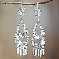 Silver filigree dangle earrings, 'Waves'