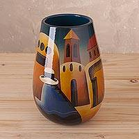 Ceramic vase, 'Convent Girl' - Artisan Crafted Cuzco Ceramic Folk Art Vase