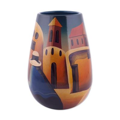 Artisan Crafted Cuzco Ceramic Folk Art Vase