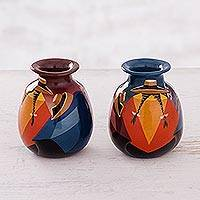 Ceramic vases, 'Get-Together' (pair) - Cuzco Ceramic Vases (Pair)
