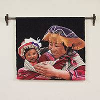 Wool tapestry, 'Proud Young Mother' - Wool tapestry