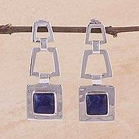 Sodalite dangle earrings, 'Sensation'