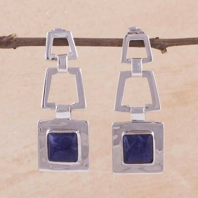 Sodalite dangle earrings, 'Sensation' - Sodalite dangle earrings