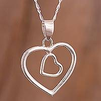 Silver heart necklace, 'You and Me' - Heart Shaped Fine Silver Pendant Necklace