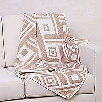 Alpaca blend throw blanket, 'Labyrinths' - Fair Trade Geometric Alpaca Wool Beige Throw Blanket