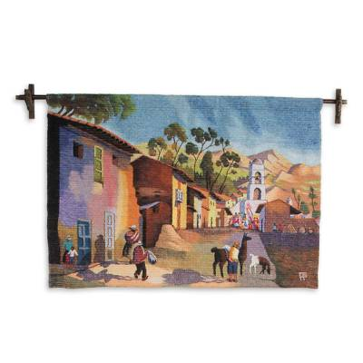 Wool tapestry, 'Palian Village' - Wool tapestry