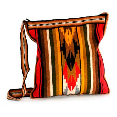Alpaca blend shoulder bag, 'Andean Warmth' - Hand Made Women's Alpaca Blend Shoulder Bag