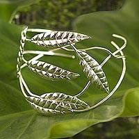 Silver wrap bracelet, 'Windblown Leaves' - Silver wrap bracelet