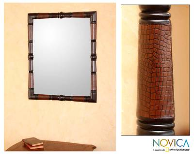 Mohena wood and leather mirror, 'Ancestral' - Contemporary Artisan Hand Tooled Leather and Wood Mirror