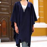 Alpaca blend ruana cloak, 'Navy Blue Chic' - Fair Trade Navy Blue Alpaca Wool Wrap