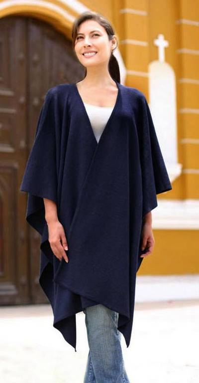 Alpaca blend ruana cloak, Navy Blue Chic