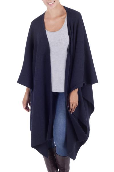 Alpaca blend ruana cloak, 'Navy Blue Chic' - Fair Trade Blend Solid Blue Wrap Ruana