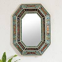Mirror, 'Sky Blue' - Elegant Handcrafted Reverse Painted Glass Mirror