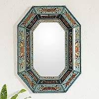 Mirror, 'Nautical Blue' - Reverse Painted Glass Wall Mirror