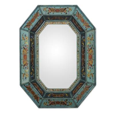 Mirror, 'Nautical Blue' - Hand Made Painted Glass Wall Mirror