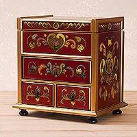 Painted glass jewelry box, 'Crimson Heart Flowers' - Reverse Painted Glass Jewelry Box