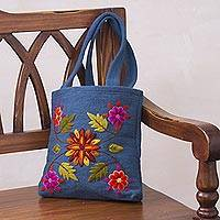 Wool handbag, 'Autumn Flowers' - Unique Wool Embroidered Tote Bag from Peru