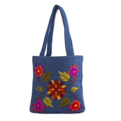 Novica Wool handbag, Autumn Flowers - Unique Wool Embroidered Tote Bag from Peru