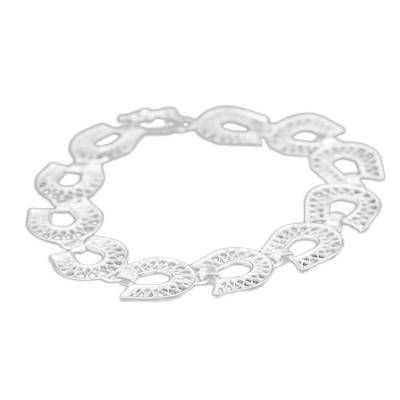 Silver filigree bracelet, 'Lucky Horseshoes' - Silver filigree bracelet