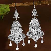 Silver chandelier earrings, 'Glorious' - Stunning Filigree Chandelier Earrings