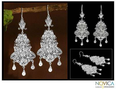 Silver chandelier earrings, 'Glorious' - Bridal Fine Silver Filigree Earrings