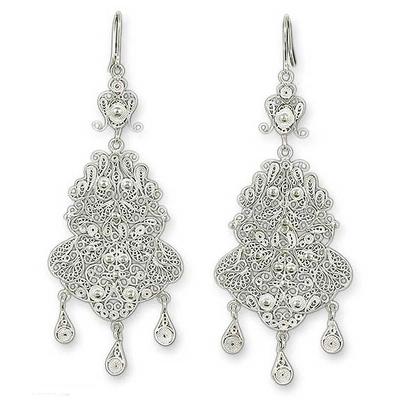 Silver chandelier earrings, 'Glorious' - Bridal Fine Silver Filigree Earrings