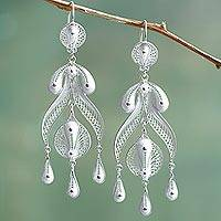 Silver chandelier earrings, 'Filigree Teardrops' - Peruvian Fine 950 Silver Chandelier Earrings