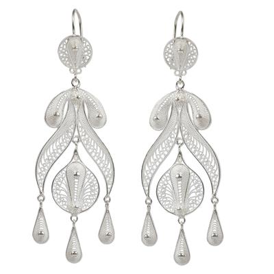 Silver chandelier earrings, 'Filigree Teardrops' - Peruvian Fine 950 Silver Chandelier Earrings