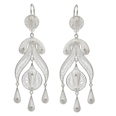 FILIGRABA EARRINGS Light Silver Filigree Earrings silver earrings 100/% Peruvian handmade earrings Sterling silver 950