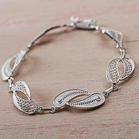 Silver filigree link bracelet, 'Joined Together' - Sterling Silver Fine Silver Link Bracelet